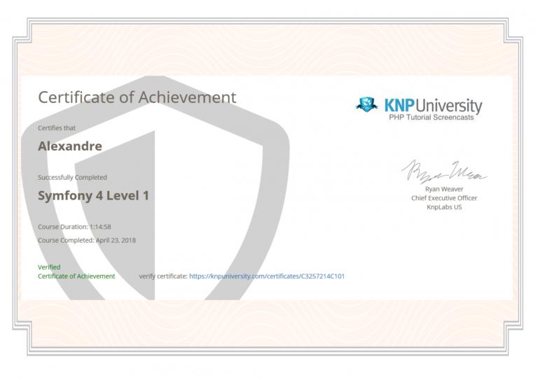 certification pour symfony 4