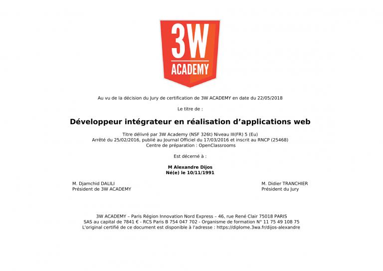 Diplôme de Développeur Intégrateur en réalisation d'applications web